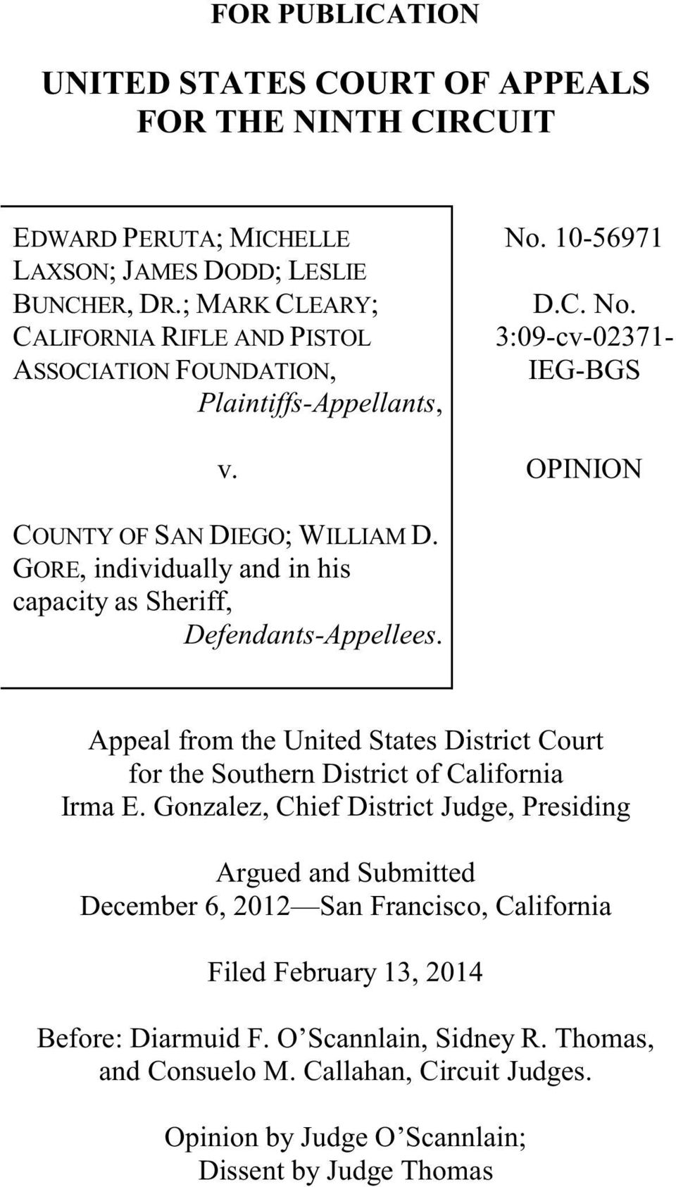 GORE, individually and in his capacity as Sheriff, Defendants-Appellees. Appeal from the United States District Court for the Southern District of California Irma E.