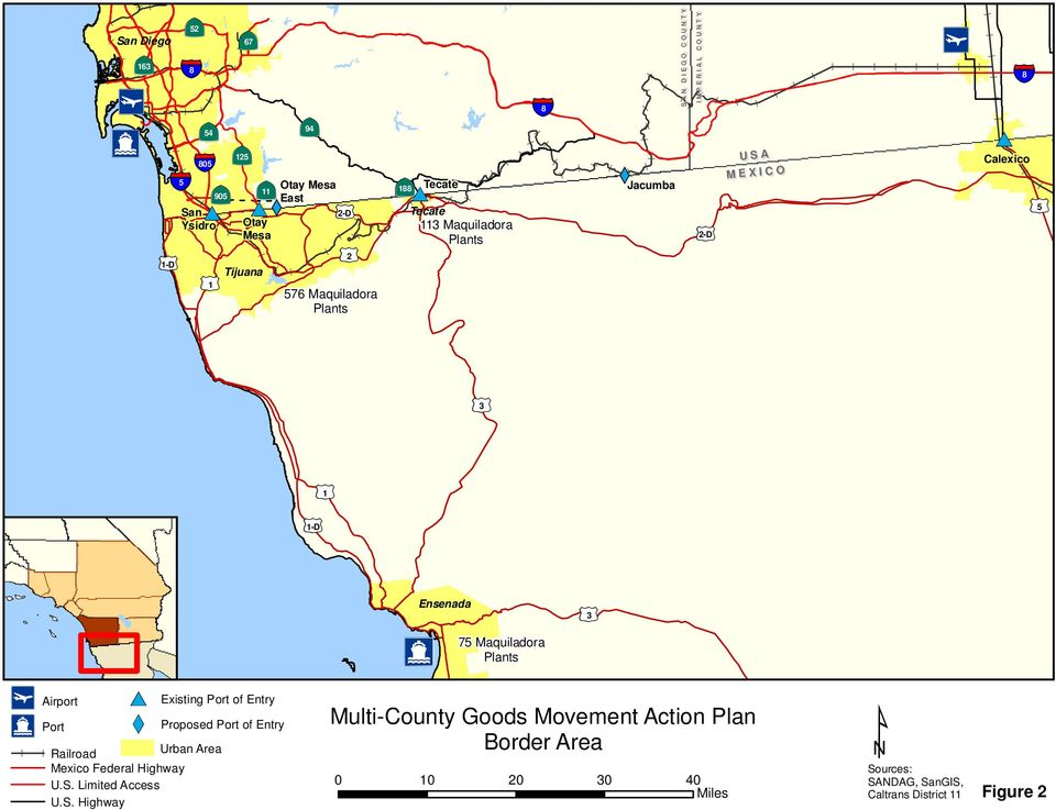 Calexico 3 1-D 1 I4 Airport Jc Port #* YX Existing Port of Entry Proposed Port of Entry Railroad Urban Area Mexico Federal Highway U.S.