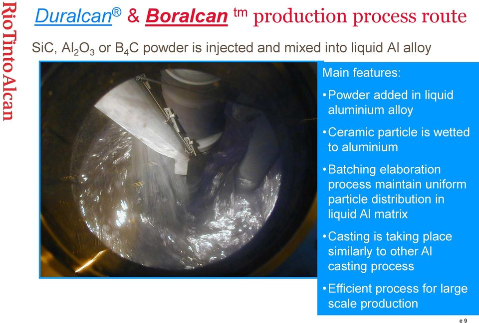 aluminium Batching elaboration process maintain uniform particle distribution in liquid Al matrix