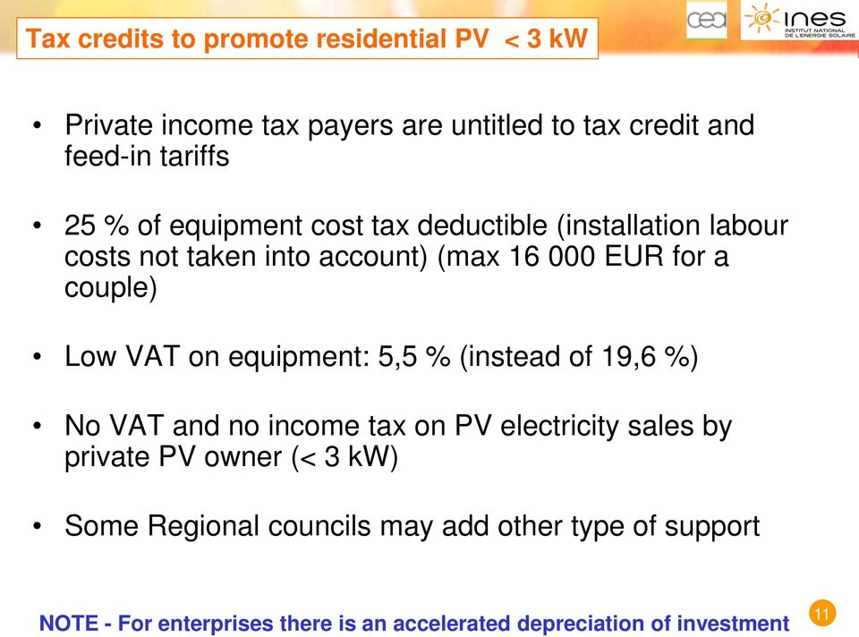 on equipment: 5,5 % (instead of 19,6 %) No VAT and no income tax on PV electricity sales by private PV owner (< 3 kw) Some