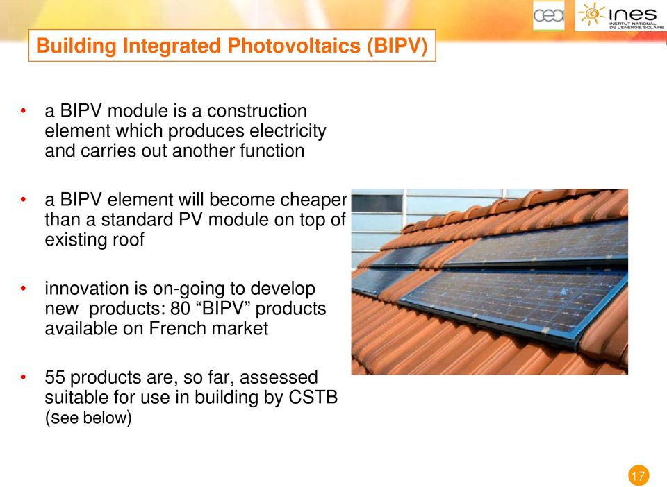 module on top of existing roof innovation is on-going to develop new products: 80 BIPV products