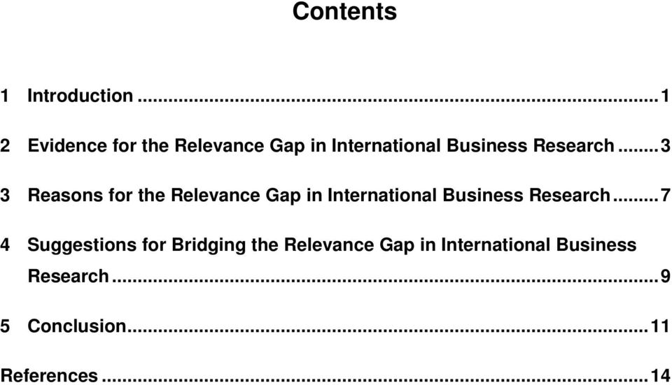 ..3 3 Reasons for the Relevance Gap in International Business Research.
