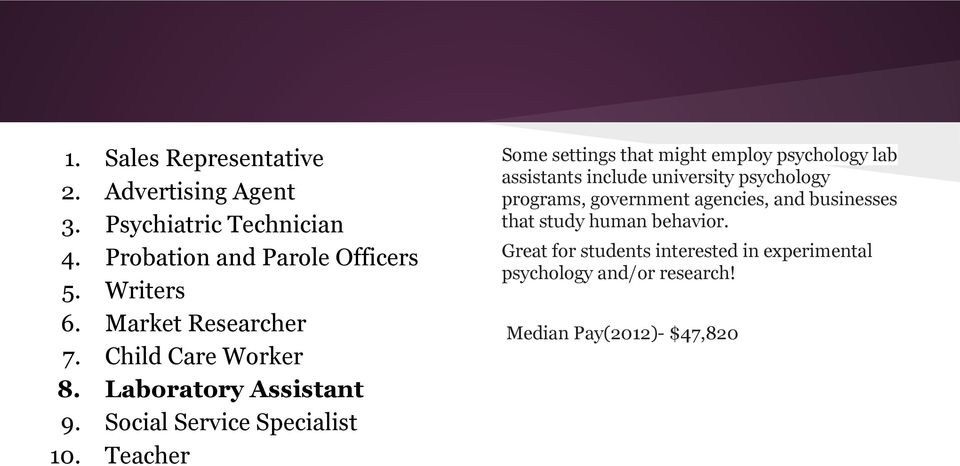 Teacher Some settings that might employ psychology lab assistants include university psychology programs, government