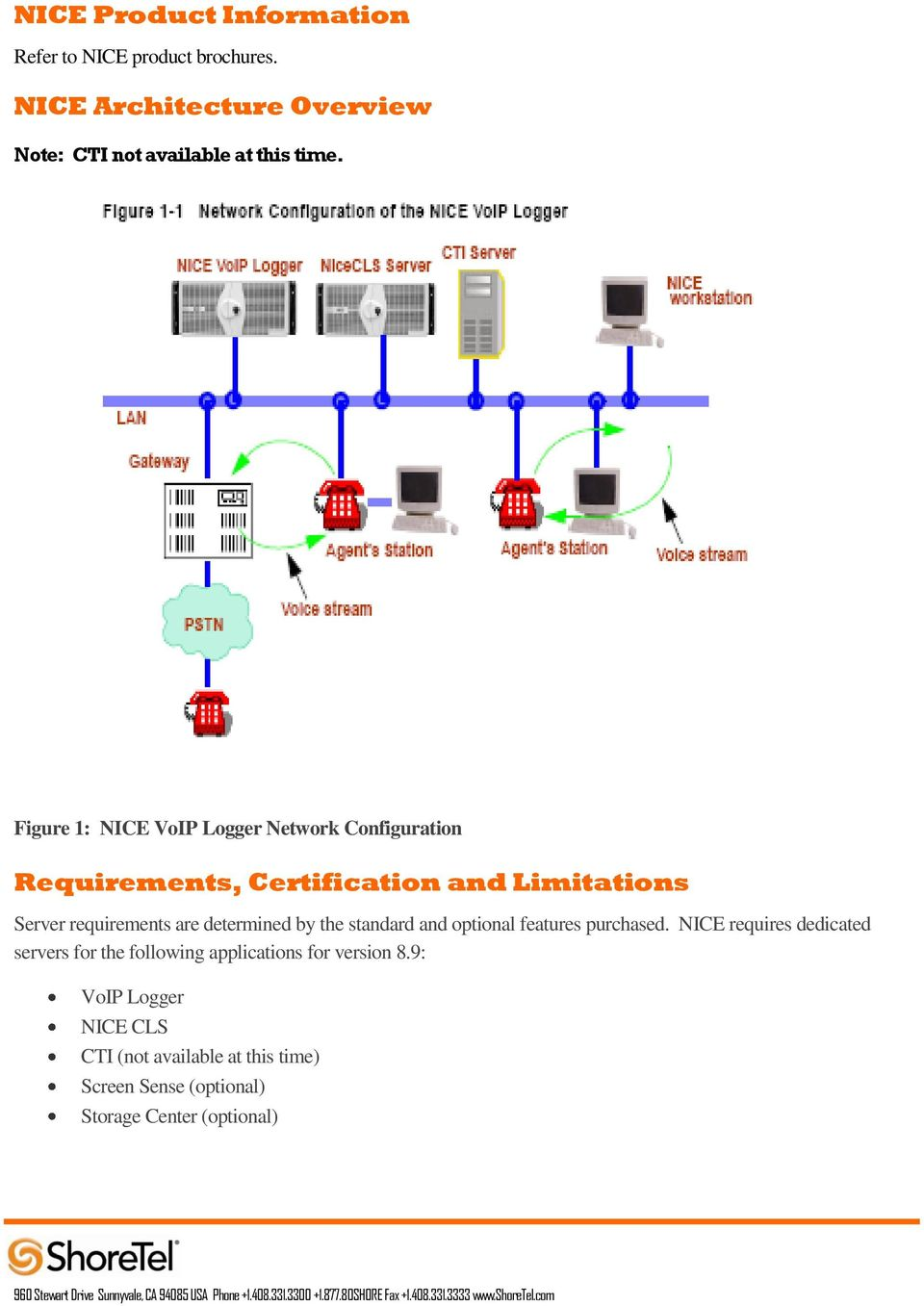 Figure 1: NICE VoIP Logger Network Configuration Requirements, Certification and Limitations Server requirements are