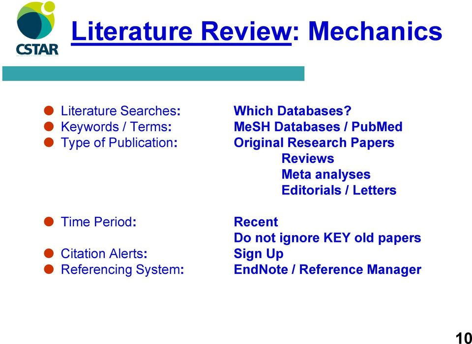 MeSH Databases / PubMed Original Research Papers Reviews Meta analyses