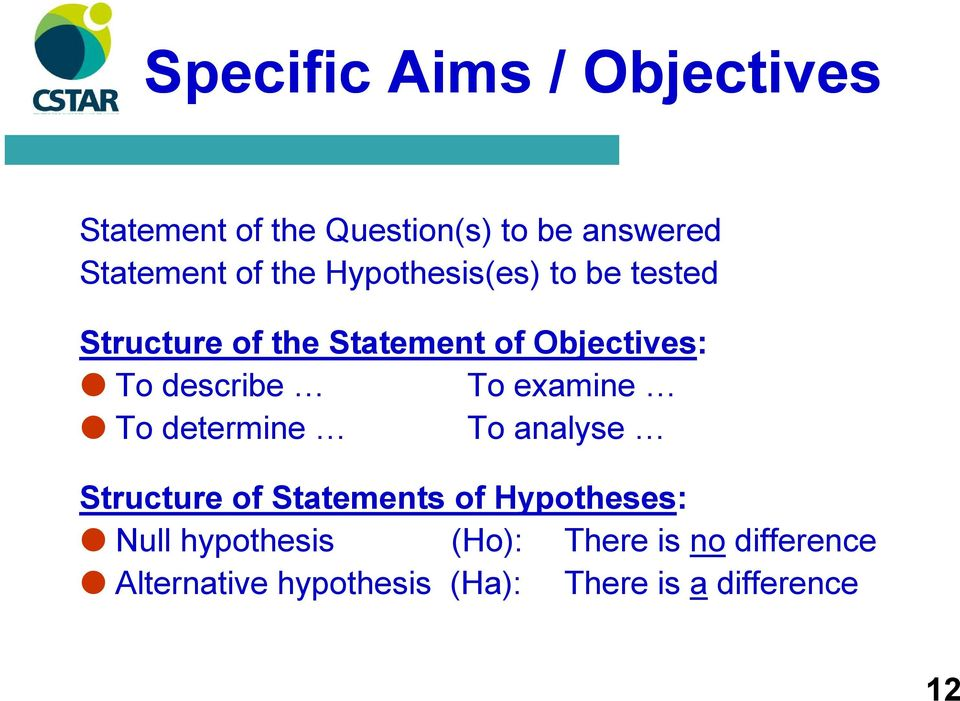 To examine To determine To analyse Structure of Statements of Hypotheses: Null