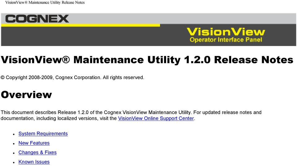 0 of the Cognex VisionView Maintenance Utility.