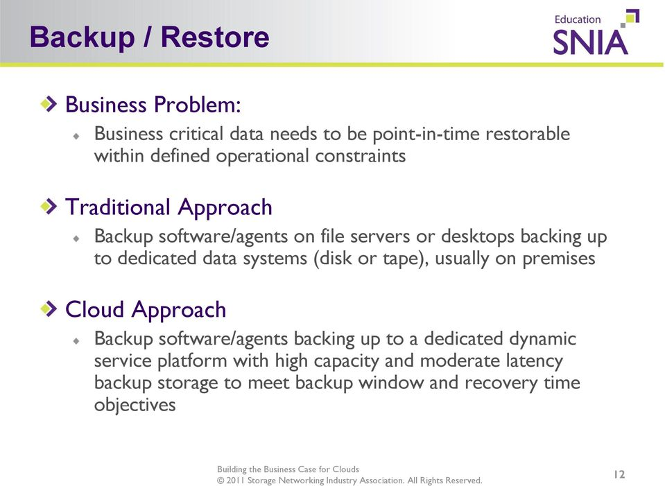 dedicated data systems (disk or tape), usually on premises Cloud Approach Backup software/agents backing up to a