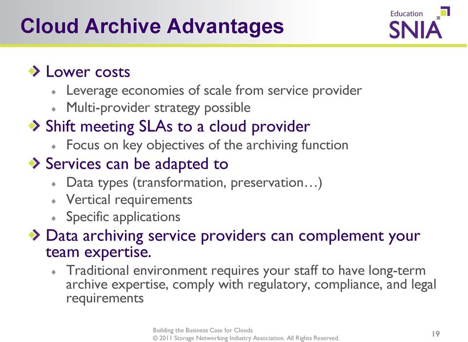 preservation ) Vertical requirements Specific applications Data archiving service providers can complement your team expertise.