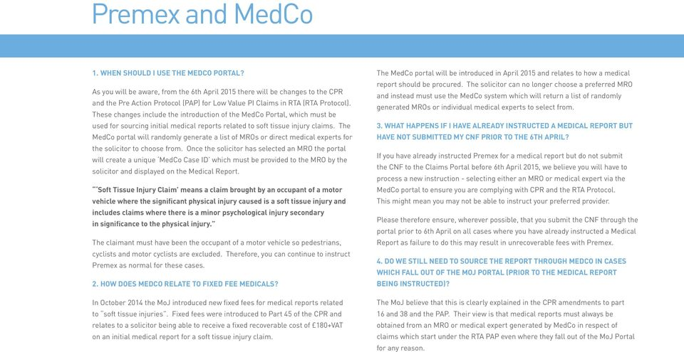 The MedCo portal will randomly generate a list of MROs or direct medical experts for the solicitor to choose from.