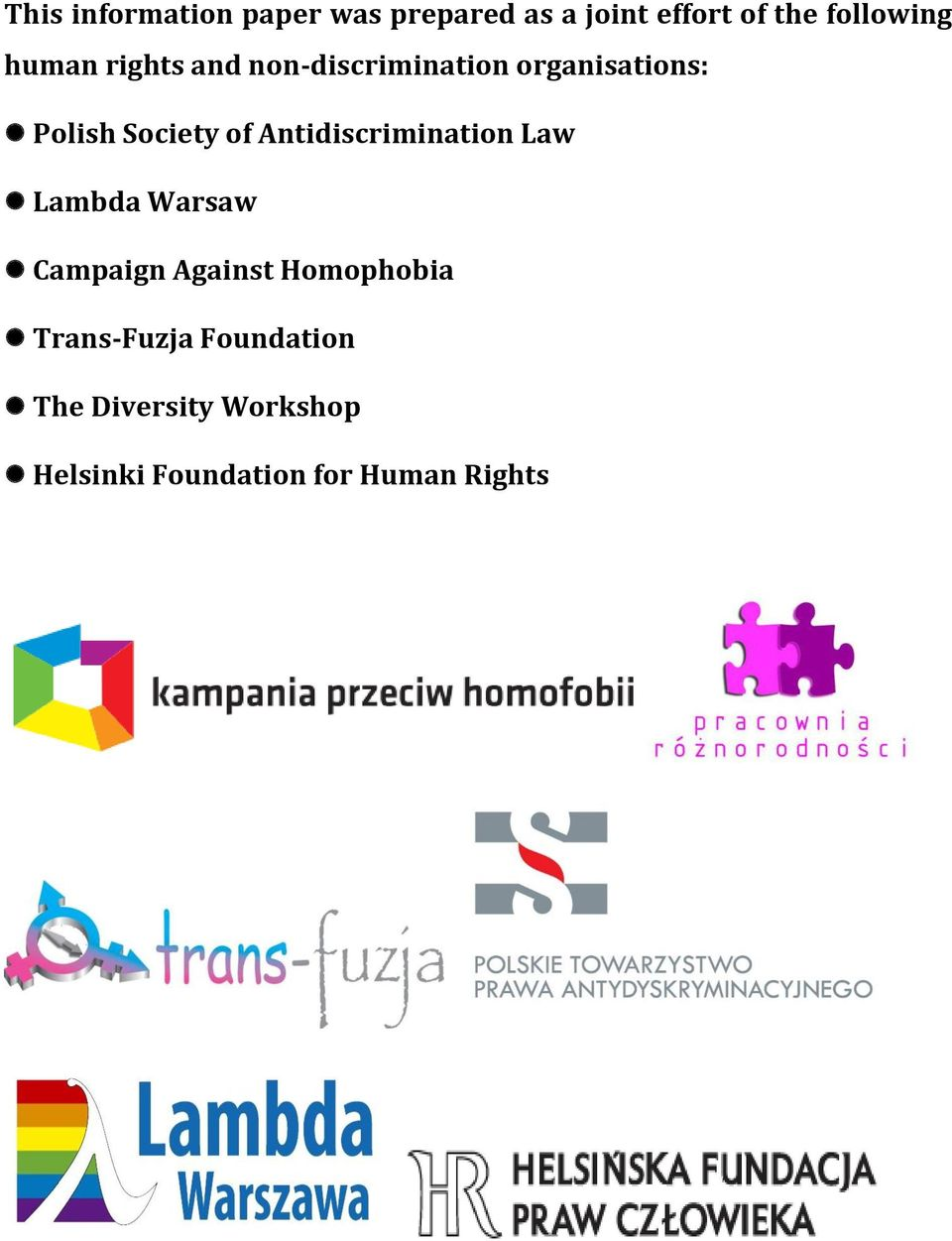 Antidiscrimination Law Lambda Warsaw Campaign Against Homophobia