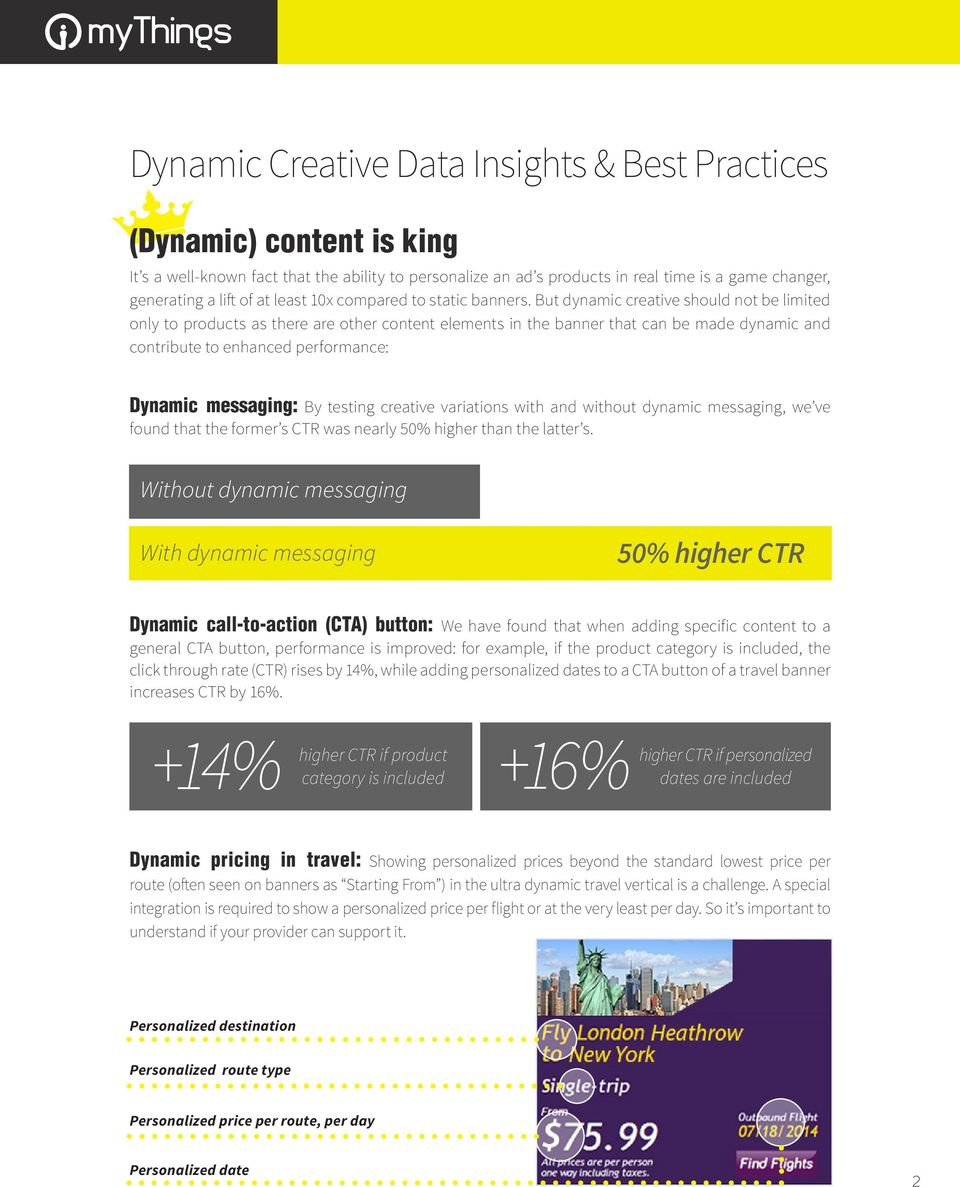But dynamic creative should not be limited only to products as there are other content elements in the banner that can be made dynamic and contribute to enhanced performance: Dynamic messaging: By