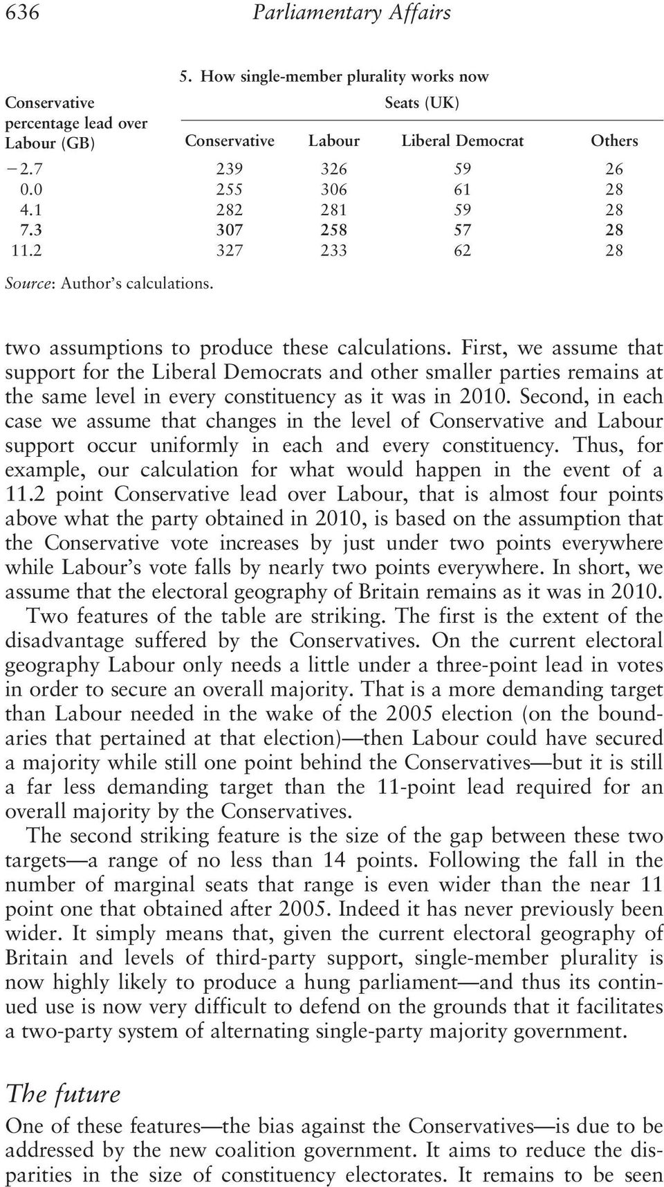 First, we assume that support for the Liberal Democrats and other smaller parties remains at the same level in every constituency as it was in 2010.