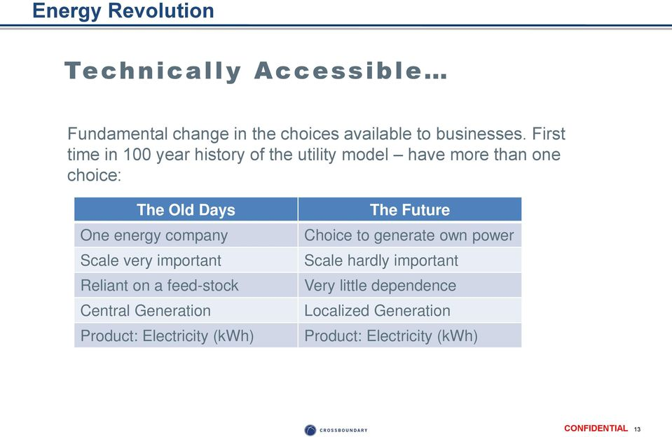 company Scale very important Reliant on a feed-stock Central Generation Product: Electricity (kwh) The Future