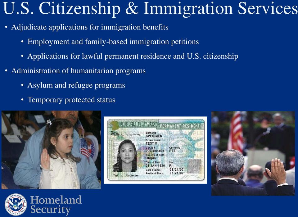 Applications for lawful permanent residence and U.S.