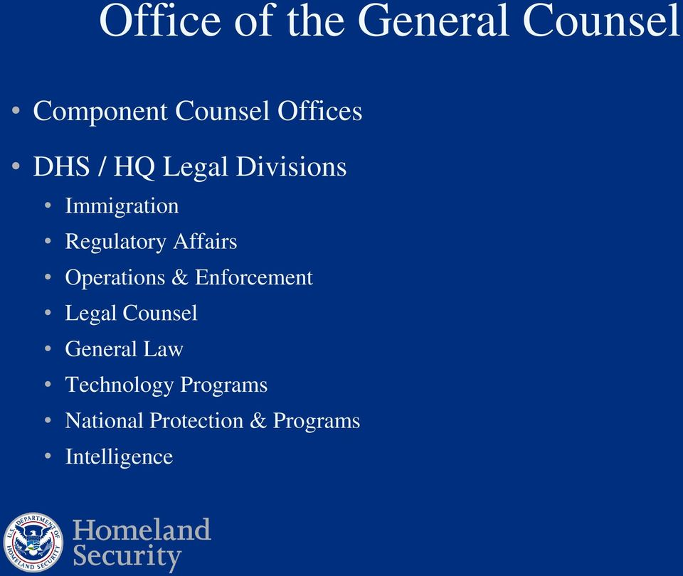 Operations & Enforcement Legal Counsel General Law