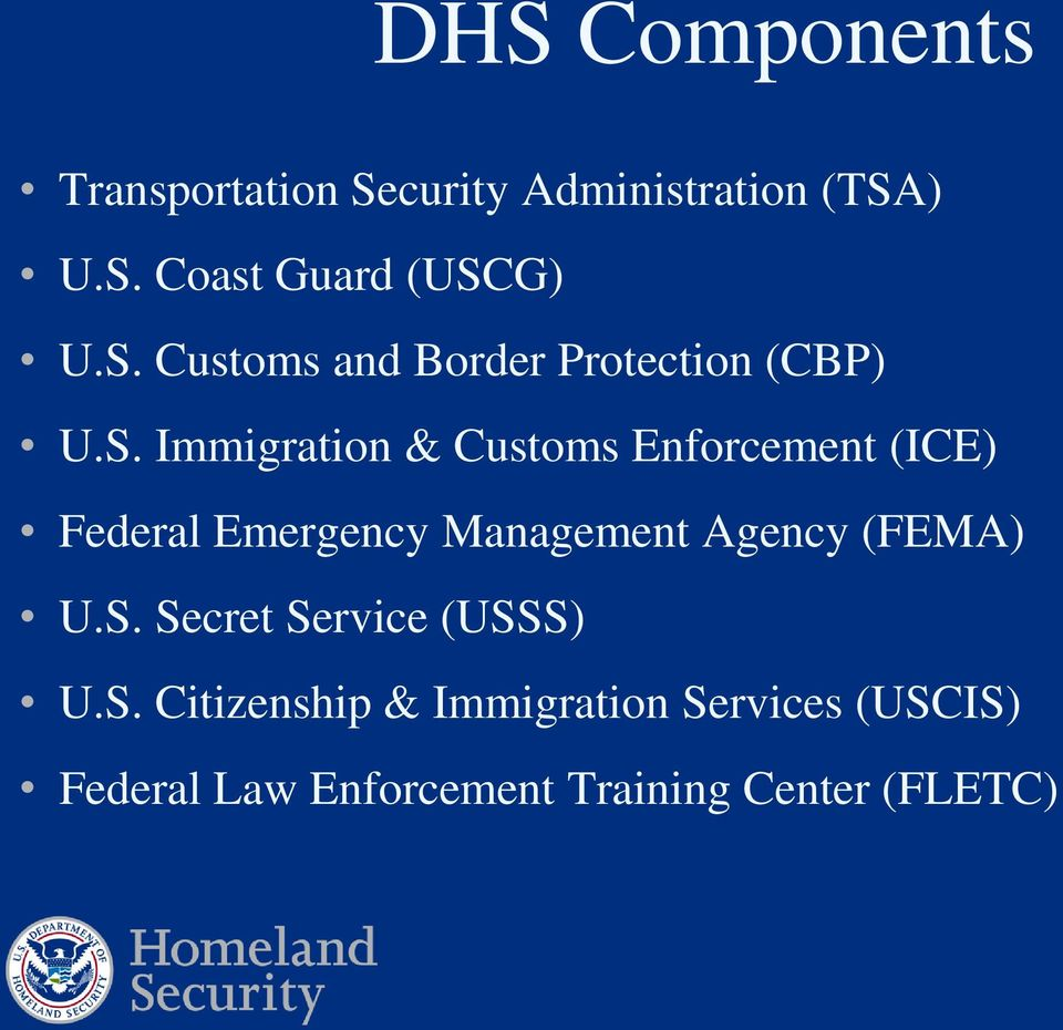 Federal Emergency Management Agency (FEMA) U.S.