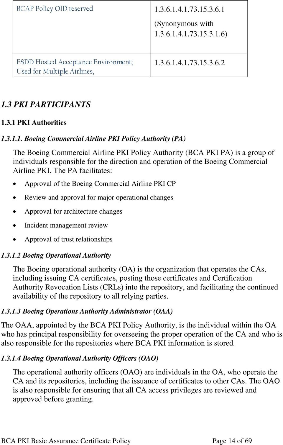 3.1 PKI Authorities 1.3.1.1. Boeing Commercial Airline PKI Policy Authority (PA) The Boeing Commercial Airline PKI Policy Authority (BCA PKI PA) is a group of individuals responsible for the