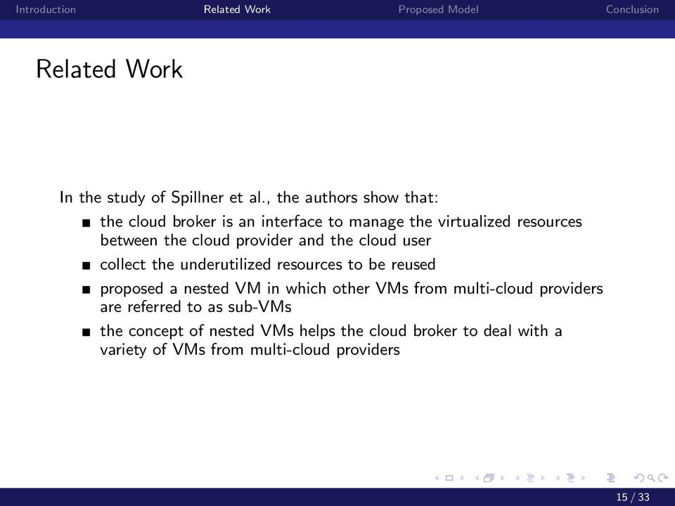 cloud provider and the cloud user collect the underutilized resources to be reused proposed a nested VM in