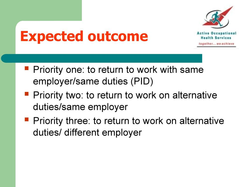 to work on alternative duties/same employer Priority