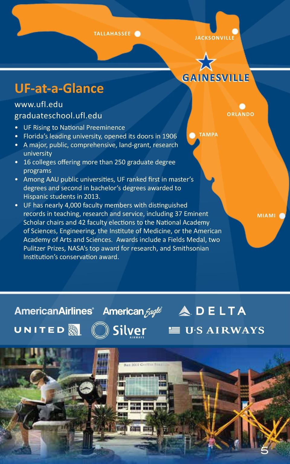 edu UF Rising to National Preeinence Florida s leading university, opened its doors in 1906 Tapa A ajor, public, coprehensive, land-grant, research university 16 colleges offering ore than 250
