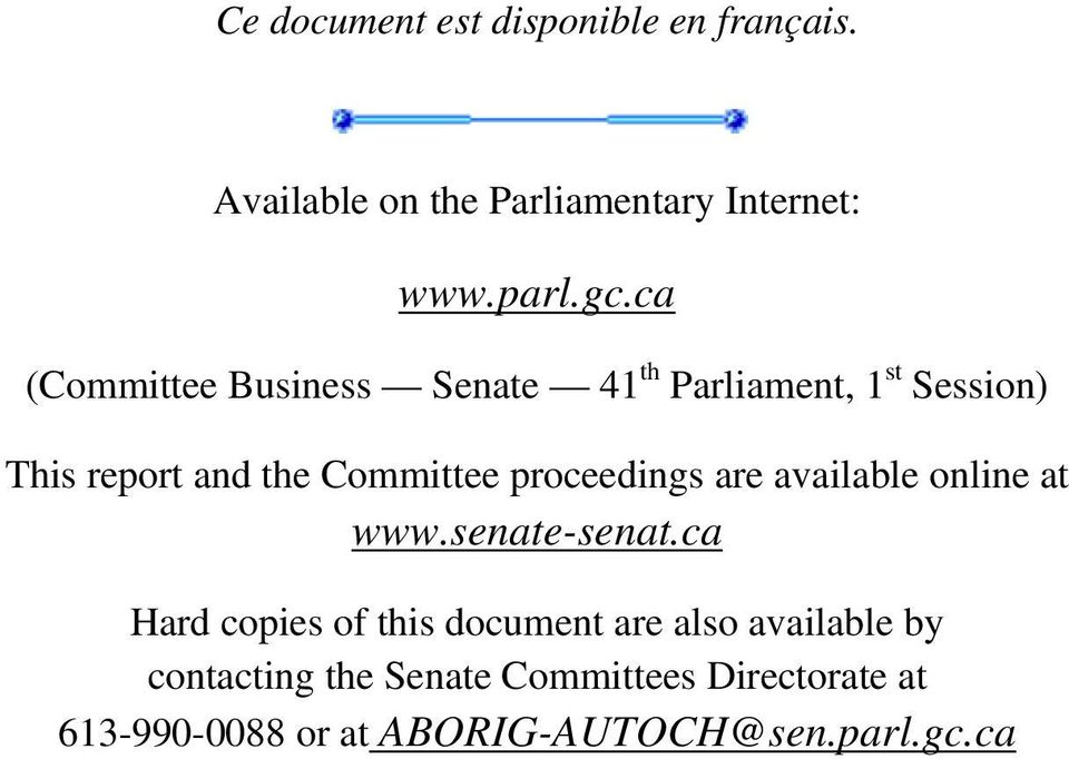 proceedings are available online at www.senate-senat.