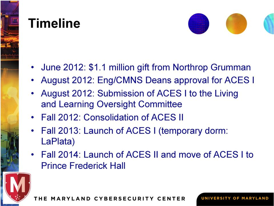 August 2012: Submission of ACES I to the Living and Learning Oversight Committee Fall