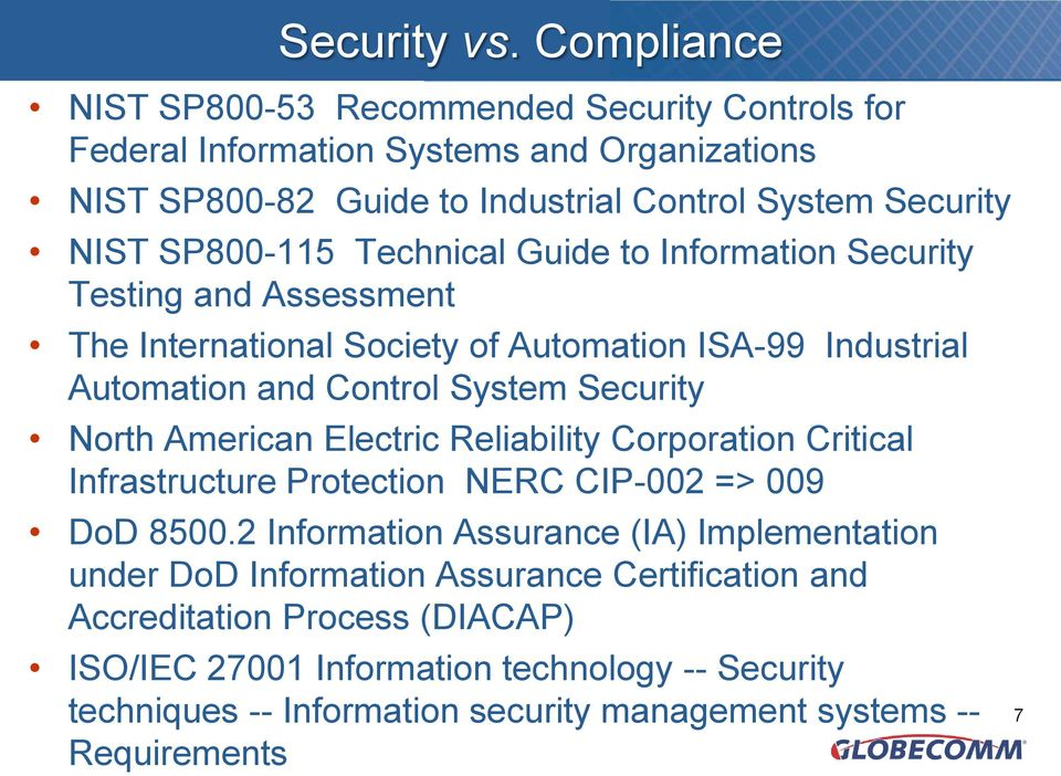 SP800-115 Technical Guide to Information Security Testing and Assessment The International Society of Automation ISA-99 Industrial Automation and Control System Security North