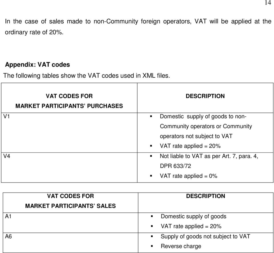VAT CODES FOR DESCRIPTION MARKET PARTICIPANTS PURCHASES V1 Domestic supply of goods to non- Community operators or Community operators not subject to