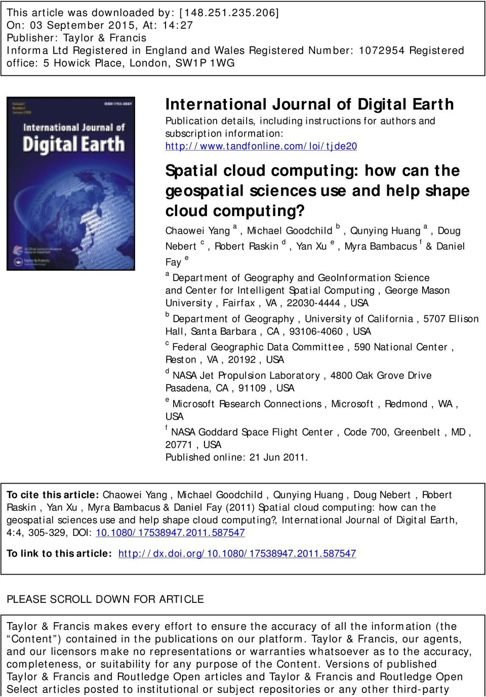International Journal of Digital Earth Publication details, including instructions for authors and subscription information: http://www.tandfonline.