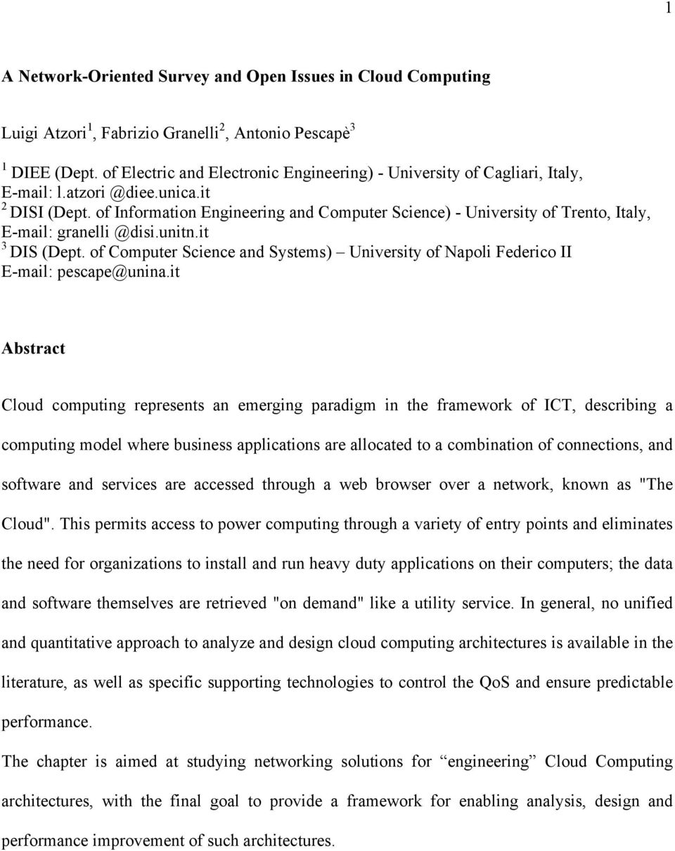 of Information Engineering and Computer Science) - University of Trento, Italy, E-mail: granelli @disi.unitn.it 3 DIS (Dept.