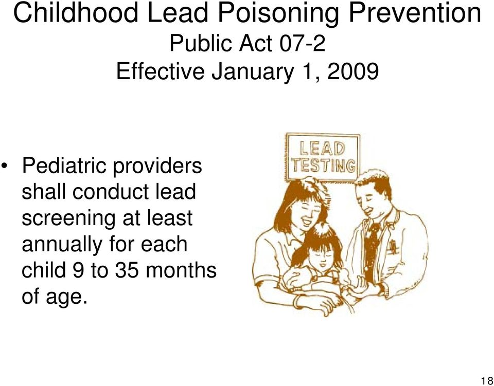 providers shall conduct lead screening at