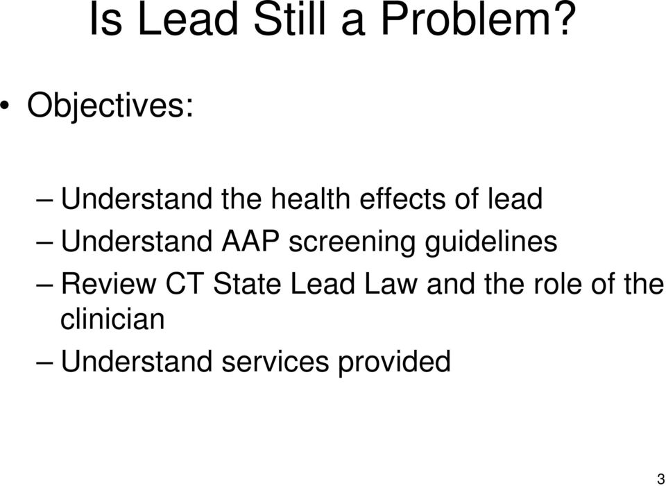 lead Understand AAP screening guidelines Review