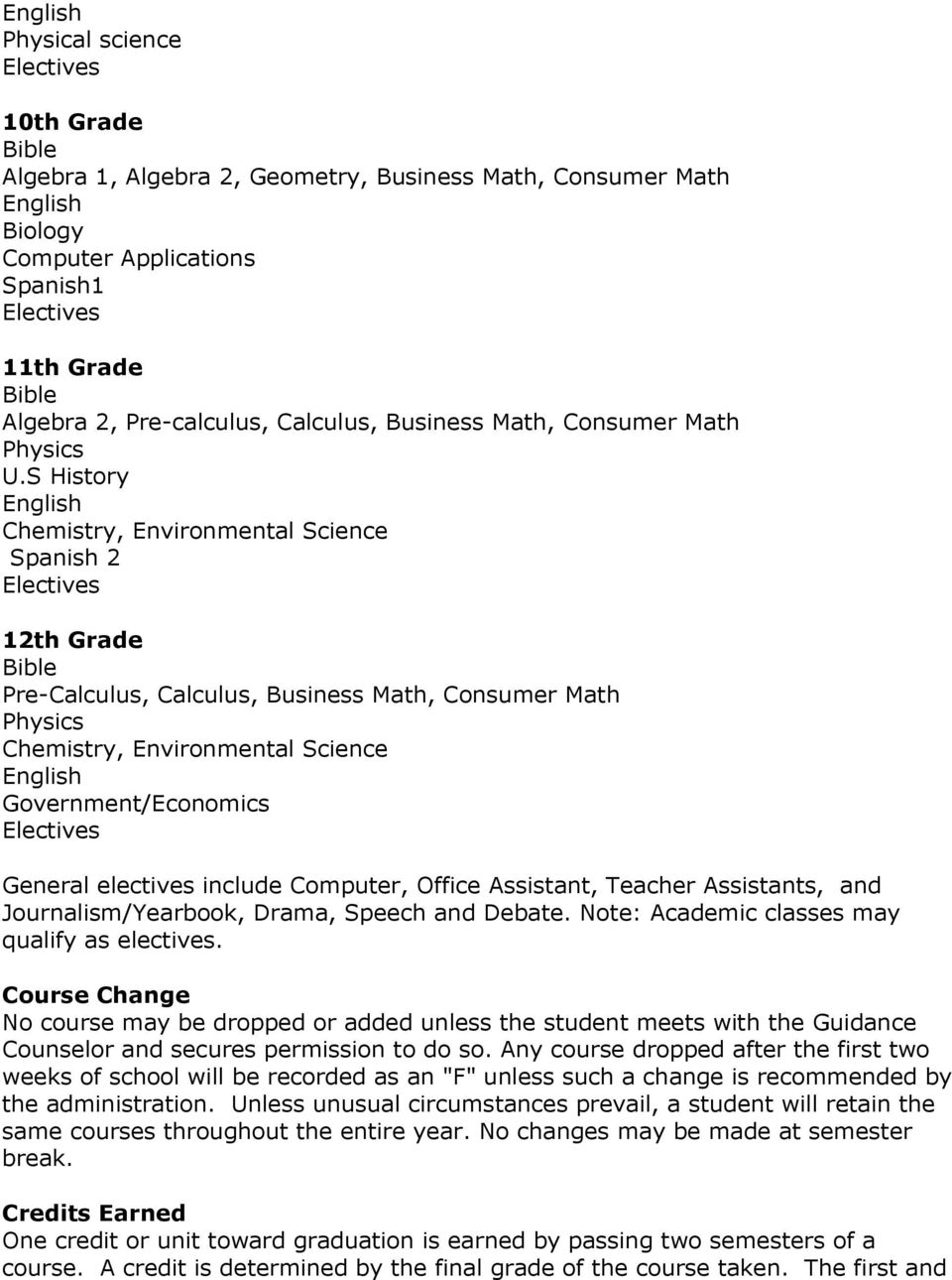 S History Chemistry, Environmental Science Spanish 2 12th Grade Pre-Calculus, Calculus, Business Math, Consumer Math Physics Chemistry, Environmental Science Government/Economics General electives