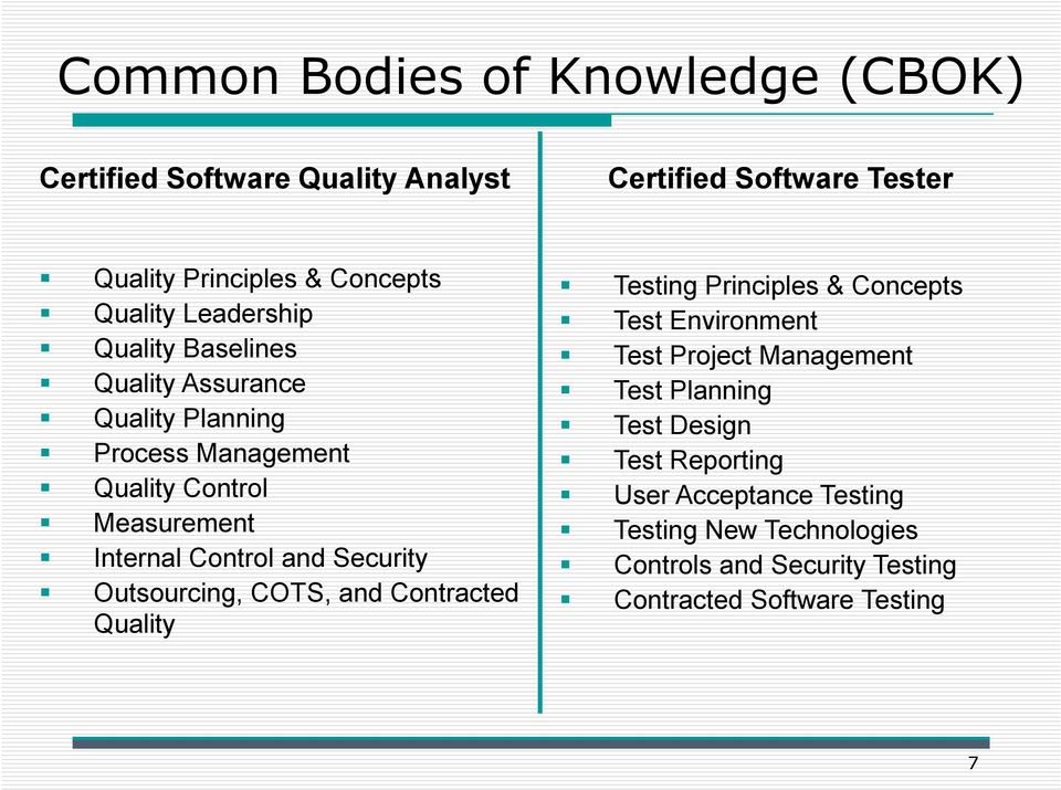 Security Outsourcing, COTS, and Contracted Quality Testing Principles & Concepts Test Environment Test Project Management Test