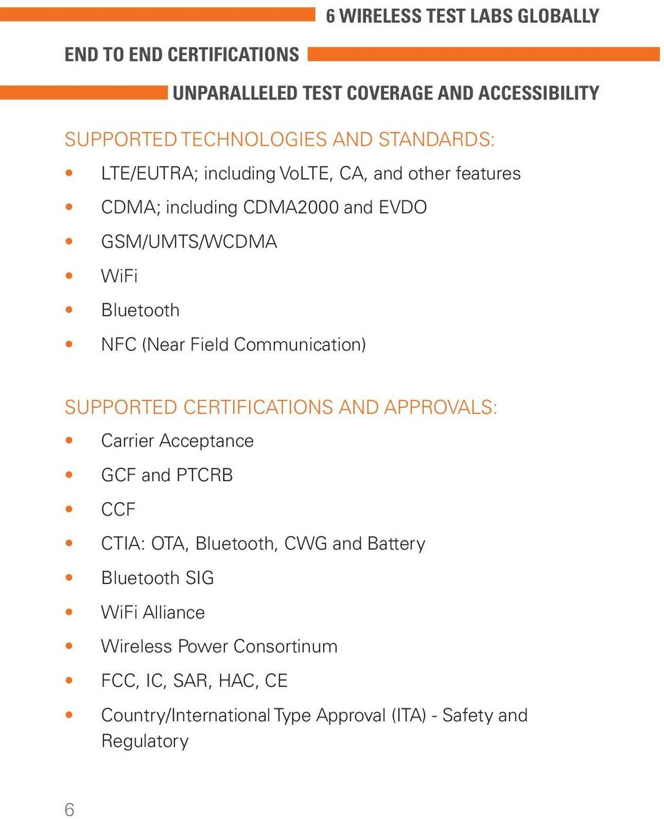Field Communication) SUPPORTED CERTIFICATIONS AND APPROVALS: Carrier Acceptance GCF and PTCRB CCF CTIA: OTA, Bluetooth, CWG and Battery