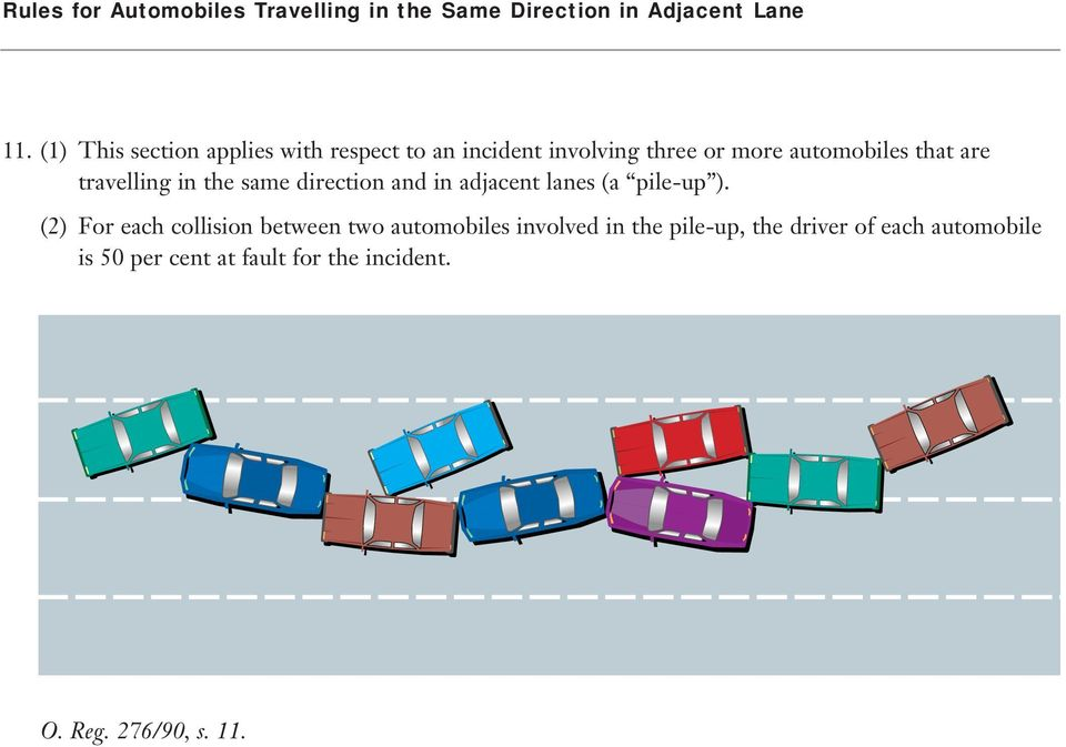 travelling in the same direction and in adjacent lanes (a pile-up ).