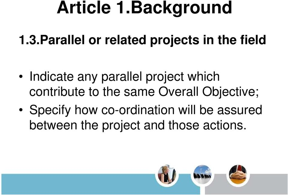 parallel project which contribute to the same Overall