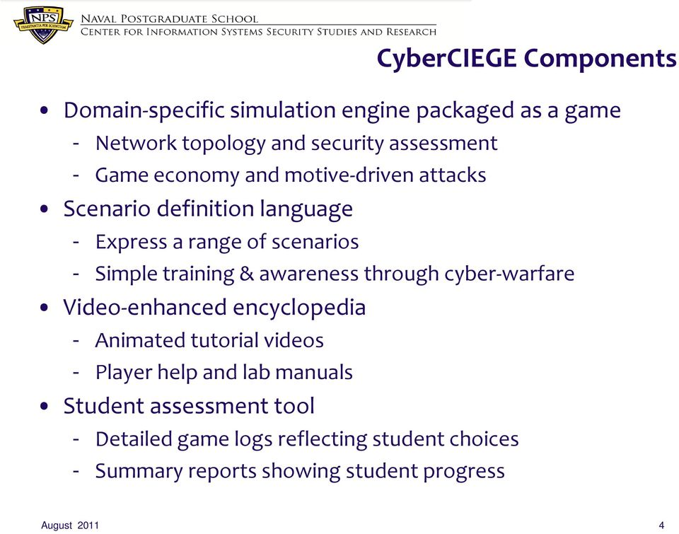 awareness through cyber-warfare Video-enhanced encyclopedia - Animated tutorial videos - Player help and lab manuals