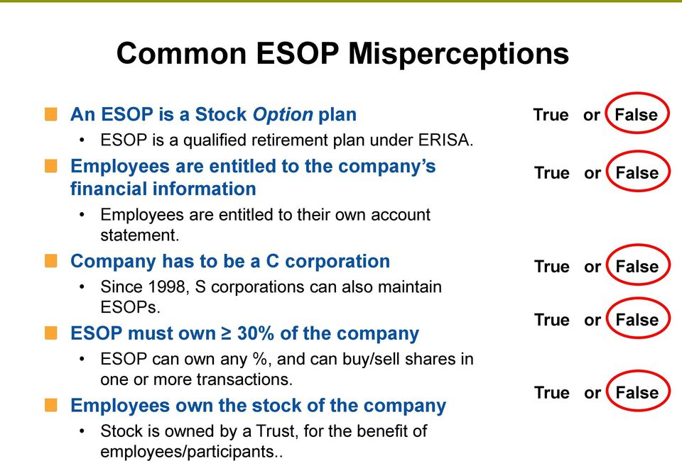 Company has to be a C corporation Since 1998, S corporations can also maintain ESOPs.