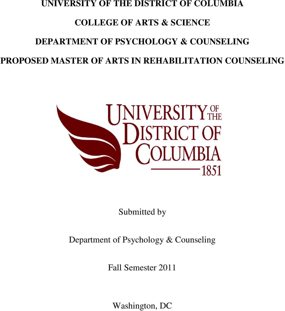 MASTER OF ARTS IN REHABILITATION COUNSELING Submitted by