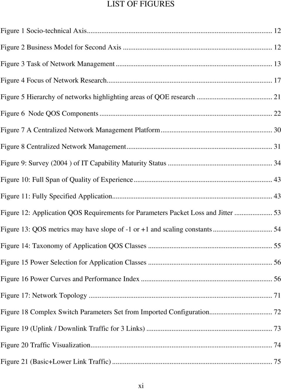 .. 30 Figure 8 Centralized Network Management... 31 Figure 9: Survey (2004 ) of IT Capability Maturity Status... 34 Figure 10: Full Span of Quality of Experience.