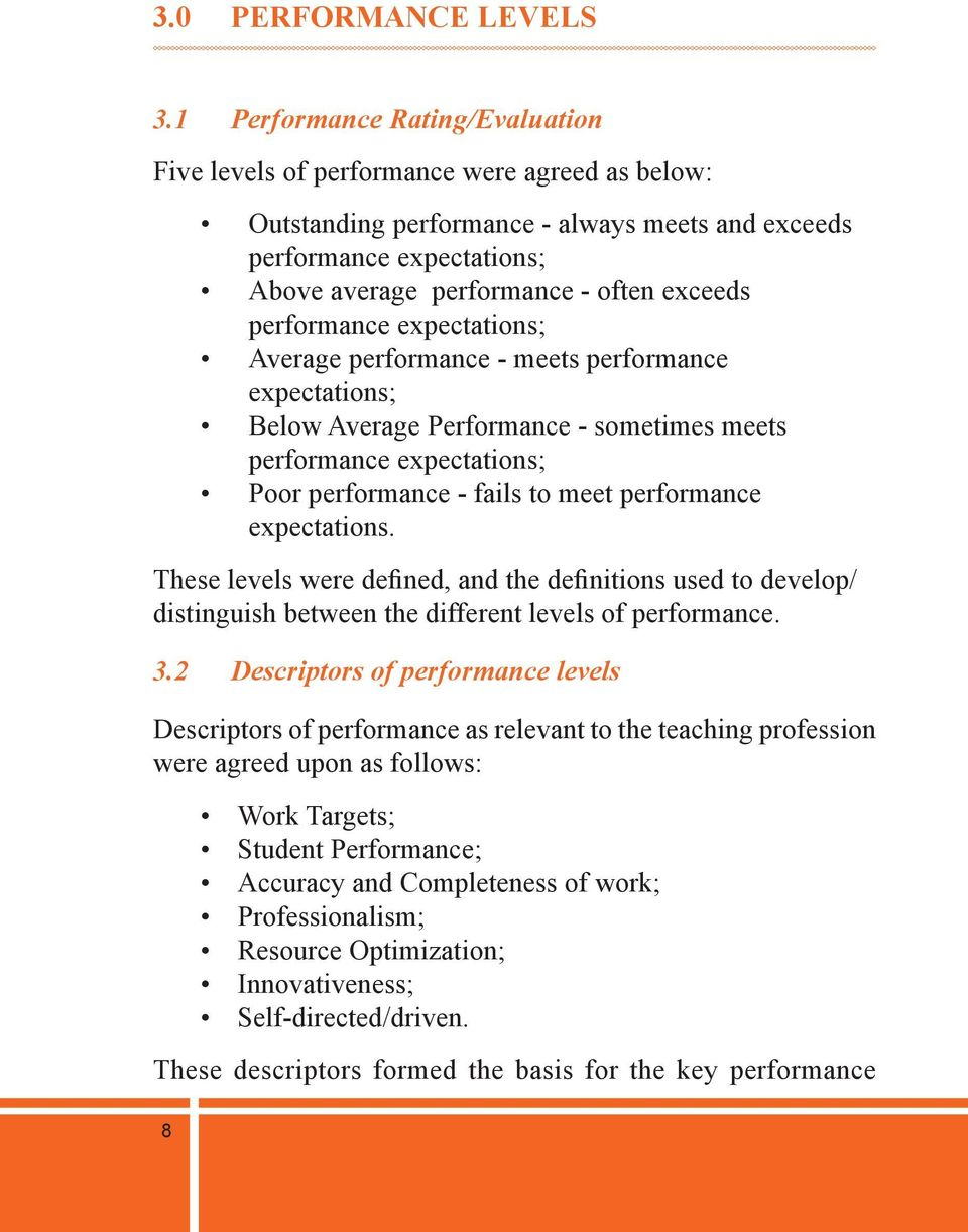 performance expectations; Average performance - meets performance expectations; Below Average Performance - sometimes meets performance expectations; Poor performance - fails to meet performance