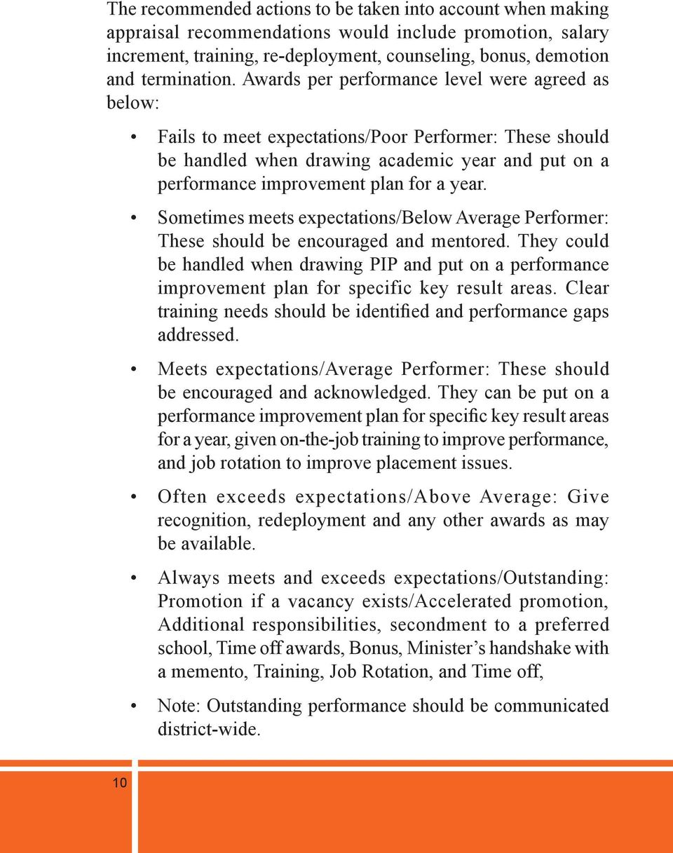 Sometimes meets expectations/below Average Performer: These should be encouraged and mentored.