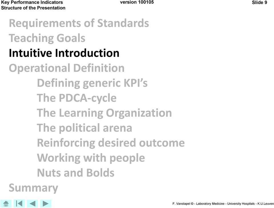 KPI s The PDCA-cycle The Learning Organization The political arena