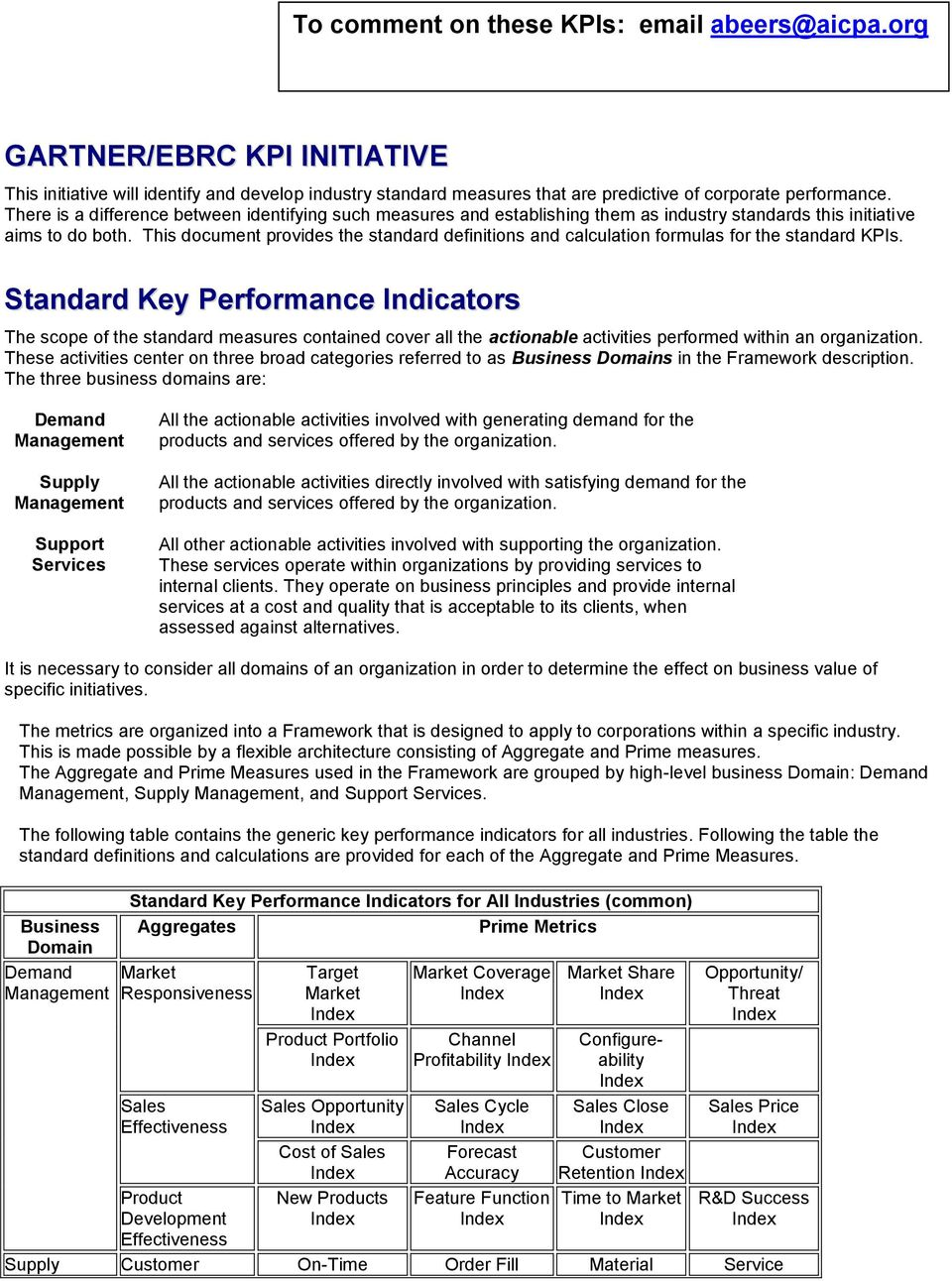 This document provides the standard definitions and calculation formulas for the standard KPIs.