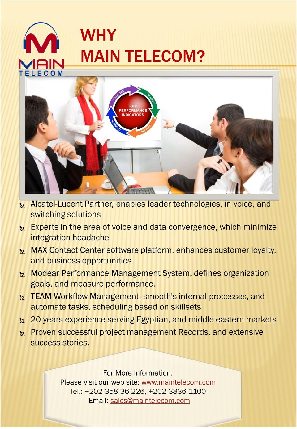 Center software platform, enhances customer loyalty, and business opportunities Modear Performance Management System, defines organization goals, and measure performance.