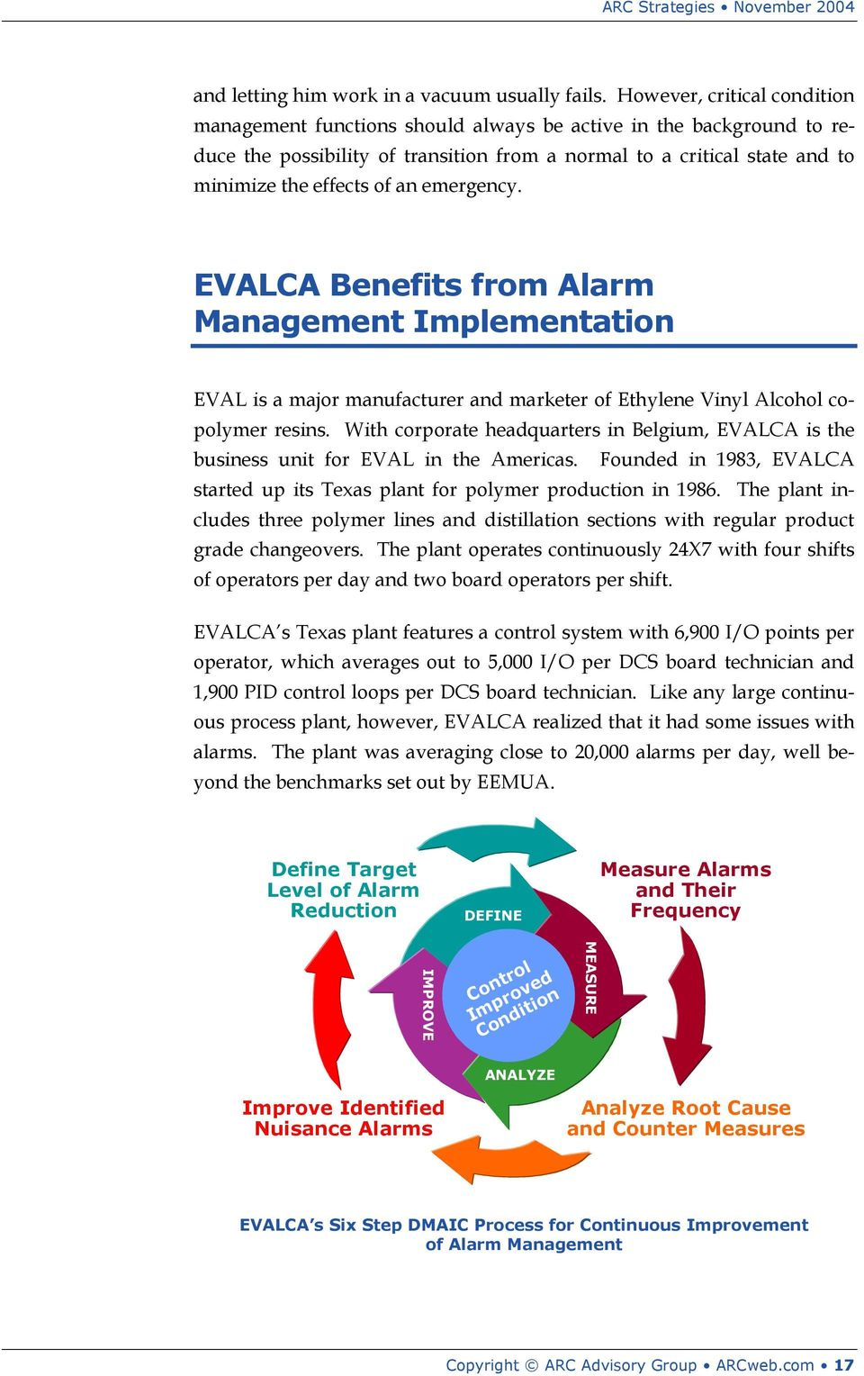 emergency. EVALCA Benefits from Alarm Management Implementation EVAL is a major manufacturer and marketer of Ethylene Vinyl Alcohol copolymer resins.