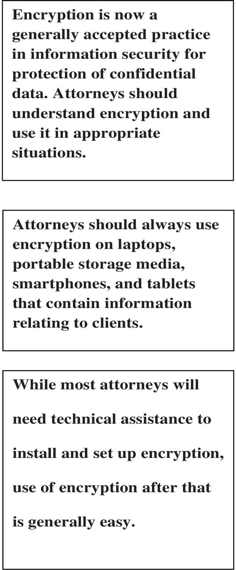 Attorneys should always use encryption on laptops, portable storage media, smartphones, and tablets that contain