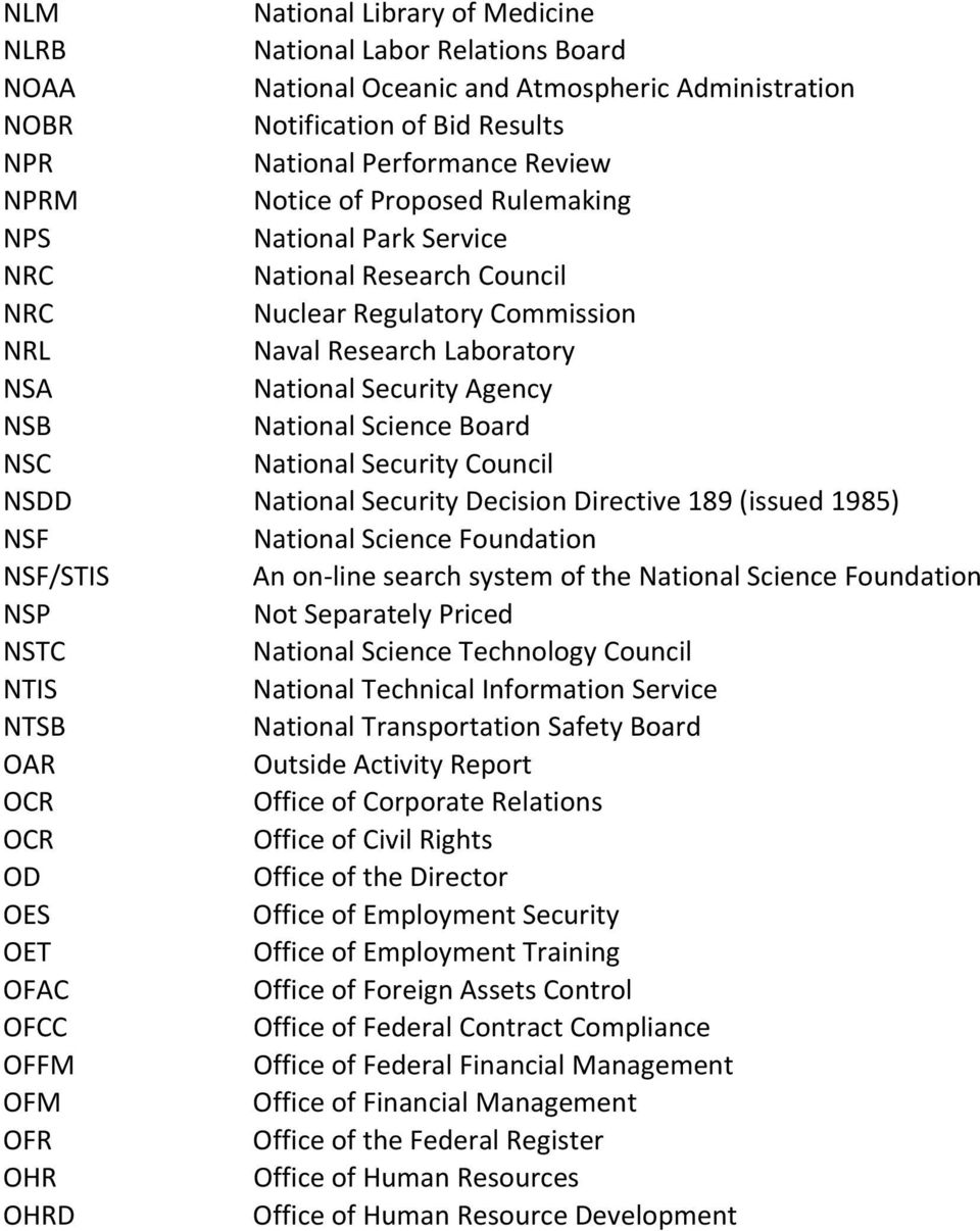 NSC National Security Council NSDD National Security Decision Directive 189 (issued 1985) NSF National Science Foundation NSF/STIS An on line search system of the National Science Foundation NSP Not